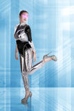 Pretty asian woman wearing latex jumpsuit. Inside cyber world concept Stock Photo