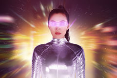 Pretty asian woman wearing latex jumpsuit. Inside cyber world concept Stock Photography