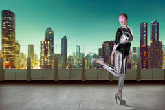 Pretty asian woman wearing latex jumpsuit Royalty Free Stock Photos