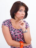 Pretty Asian woman wearing printed dress Royalty Free Stock Photos
