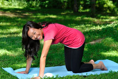 Pretty Asian woman - yoga in the park Royalty Free Stock Image