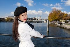 Pretty asian in zurich Royalty Free Stock Photo