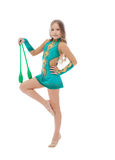 Pretty athlete in rhythmic gymnastics with mace Stock Photos