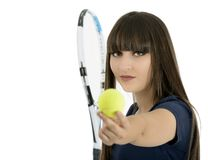 A pretty, athletic female tennis player isolated on a white back Stock Image