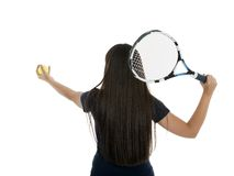 A pretty, athletic female tennis player isolated on a white back Stock Images