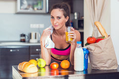 Pretty attractive athletic active sportive lady Stock Photography