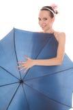 Pretty attractive bride woman holding umbrella Stock Photo