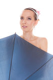 Pretty attractive bride woman holding umbrella Royalty Free Stock Images