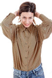 Pretty attractive casual business woman pulling her hair back stock photos