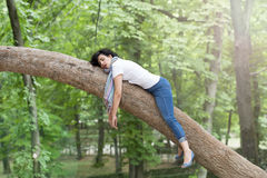 Pretty attractive woman wearing causal clothes sleeping in a tree. stock images