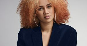 Gorgeous black female with light afro hair. Pretty attractive young mixed race model with large afro wearing navy jacket over her naked body and shorts stock photography