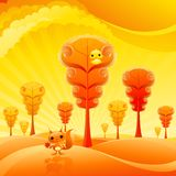 Pretty autumn. Landscape with cute baby animals Royalty Free Stock Photography