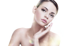 Pretty babe enjoy a flawless skin, skin care concept Royalty Free Stock Photography