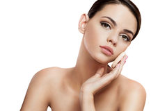 Pretty babe enjoy a flawless skin, skin care concept Royalty Free Stock Images