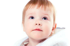 Pretty baby with blue eye portrait. On white background stock photography