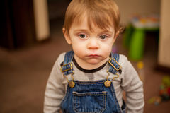 Pretty baby boy acting all serious Royalty Free Stock Images