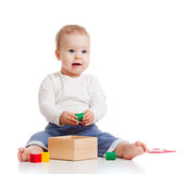 Pretty baby with color educational toy Stock Images