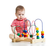 Pretty baby with color educational toy Stock Photos