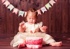 Pretty baby girl celebrate birthday Stock Images
