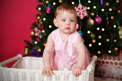 Pretty baby girl at Christmas Stock Photography