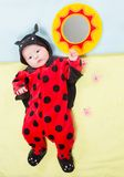 Pretty baby girl, dressed in ladybug costume on green background. Royalty Free Stock Photography