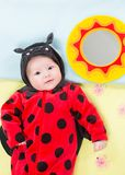 Pretty baby girl, dressed in ladybug costume on green background. Royalty Free Stock Images