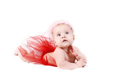 Pretty baby girl with pink crown Stock Photos
