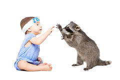 Pretty baby girl playing with raccoon Royalty Free Stock Image