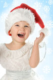 Pretty Baby In Santa Hat Stock Image