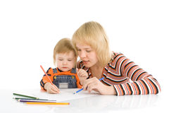 Pretty baby and mother draw color pencil Stock Photos