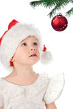 Pretty baby in santa hat Stock Photo