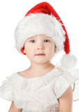 Pretty baby in santa red hat Royalty Free Stock Images