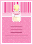 Pretty Baby Shower invitation card. Baby Bottle Royalty Free Stock Photography
