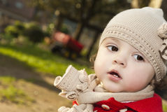 Pretty baby with wool cap. Royalty Free Stock Photography