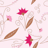 Pretty background. Featuring flowers in pink, girly colors. Image is fully tileable, seamless and repeatible stock illustration