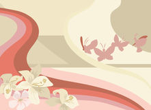 Pretty background. Background with butterflies and flowers stock illustration