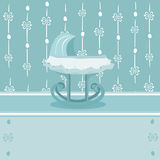 Pretty background with baby cradle for boy Stock Image