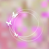 Pretty background  with butterflies. Vector pink background with silver butterflies Royalty Free Stock Image