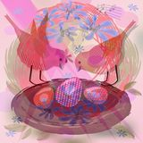 Pretty background with cute red birds by nest with eggs Stock Photo