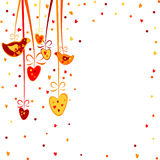 Pretty background with hearts and birds Royalty Free Stock Image
