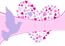 Pretty background with pigeon and hearts Royalty Free Stock Photo