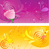Pretty backgrounds with swirl design. And rose Royalty Free Stock Photos