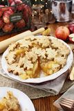 Pretty Baked Apple Pie with Slice Missing Royalty Free Stock Photo