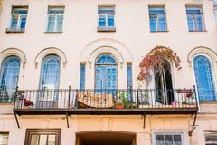 Pretty balcony with arch windows. In St. Petersburg royalty free stock photo