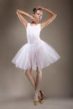 Ballet. Graceful Ballerina in White Light Tutu - Performance. Fantasy Royalty Free Stock Photo