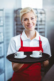 Pretty barista holding two cups of coffee Royalty Free Stock Images