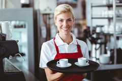 Pretty barista holding two cups of coffee Royalty Free Stock Image