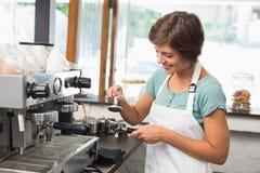 Pretty barista pressing coffee grinds Stock Photo