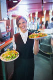 Pretty barmaid holding plates of salads Stock Photography
