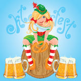 Pretty Bavarian girl with beer and pretzel, Oktoberfest card. Stock Images